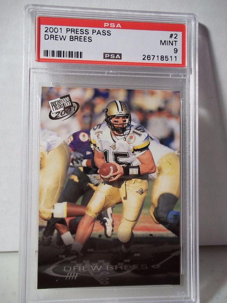 2001 press pass drew brees rookie psa mint 9 football card
