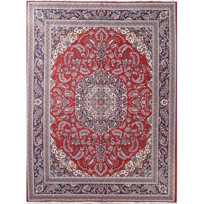 Astoria Grand Rueda Kashan Persian Wool Red Burgundy Area Rug