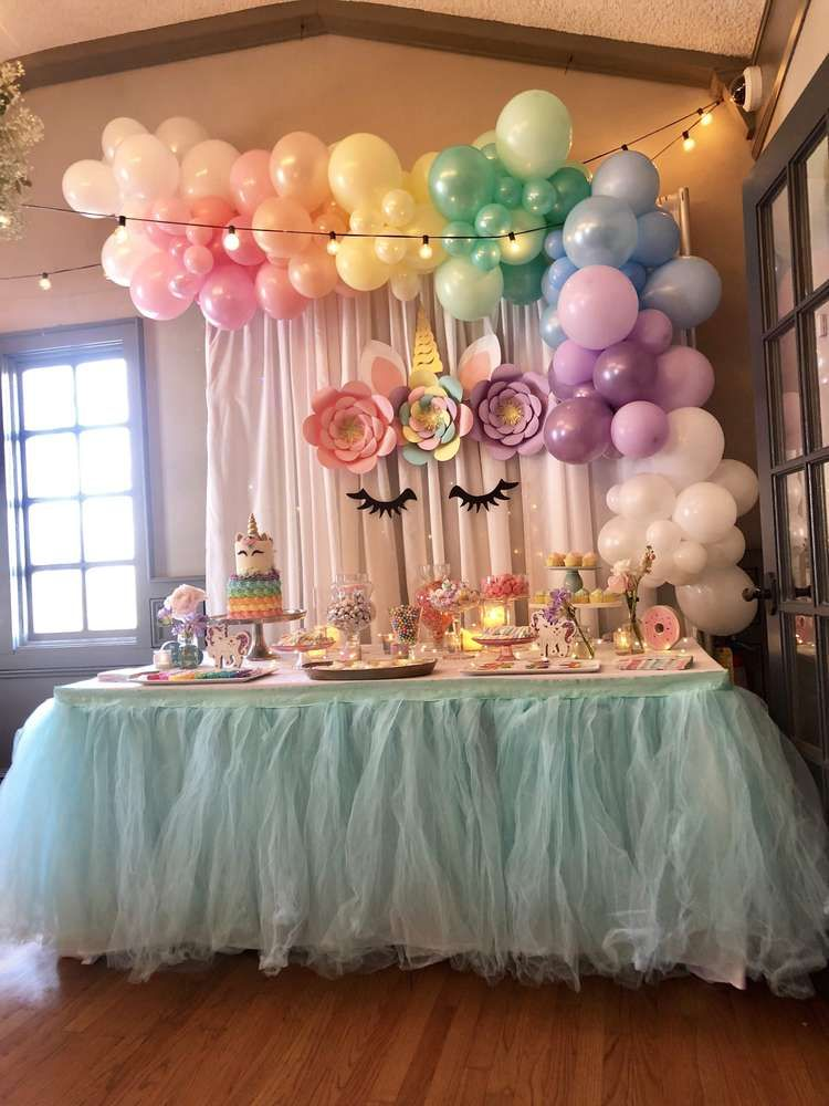 Unicorn Rainbow Bridal Wedding Shower Party Ideas Photo 9 Of 38 Birthday Parties Baby Birthday Party Girl Birthday Party Decorations