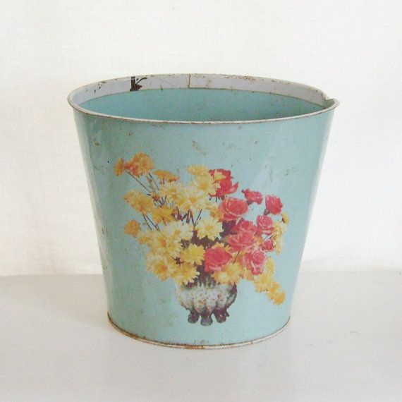 Vintage waste basket trash can aqua metal red and by trendybindi, $15.00