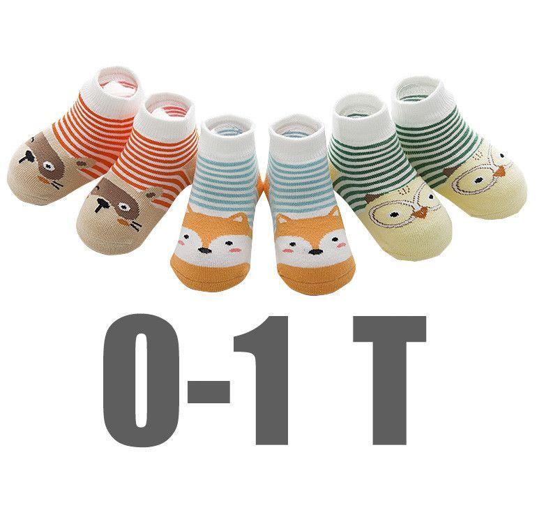 3Pcs Cotton Non-Slip Socks 0-3T