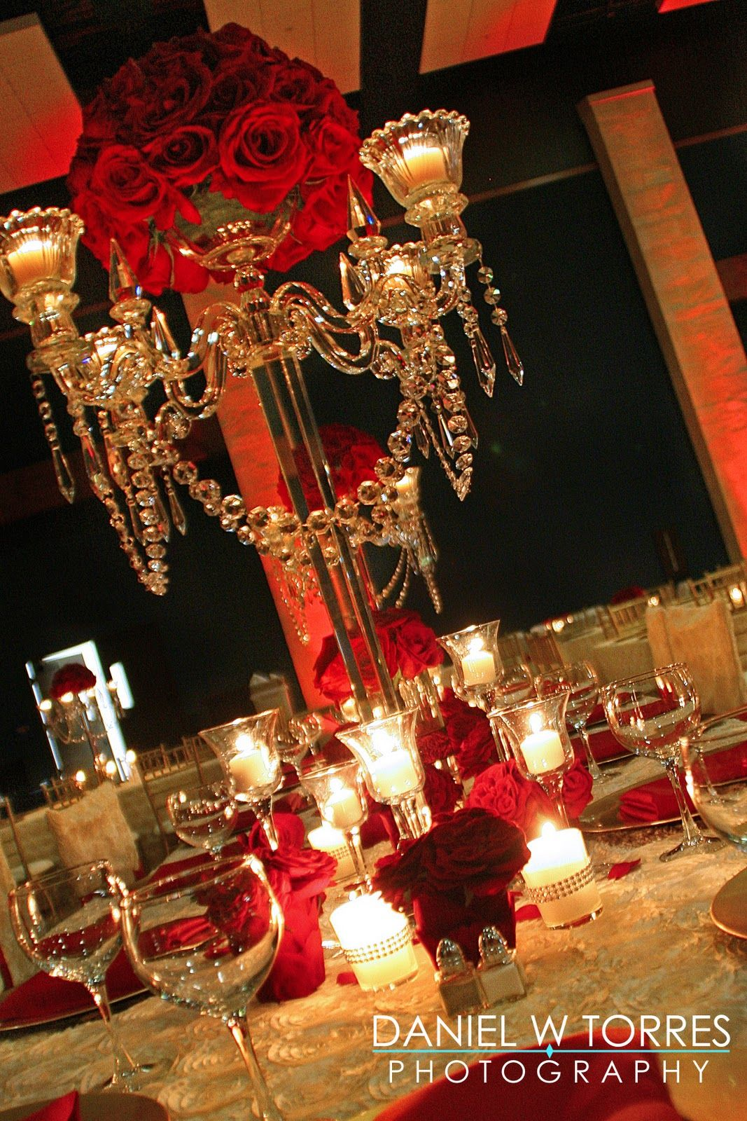 Wedding decoration ideas gold  red roses and candle Beauty and the Beast wedding reception idea