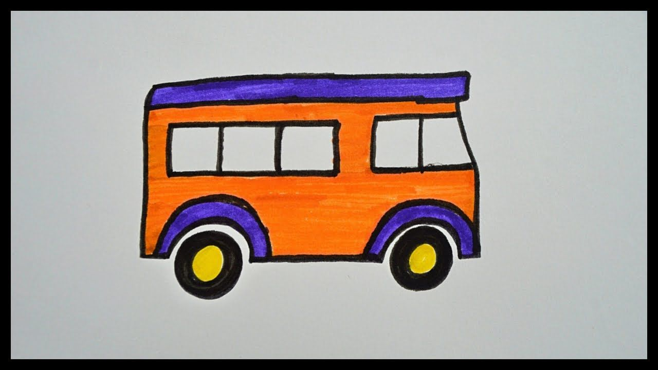 How To Draw A Bus Drawing For Kids Coloring Pages With
