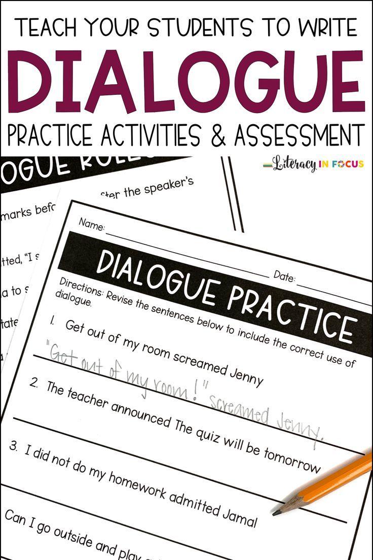 Writing Dialogue Practice Activities in 2020 Writing