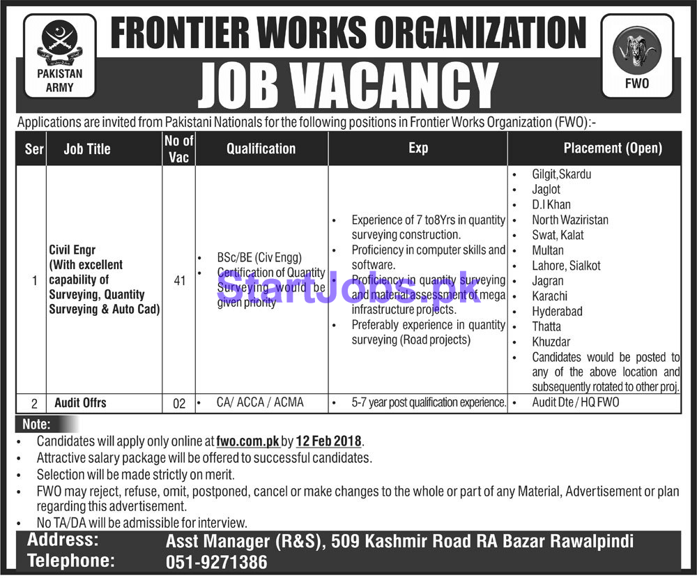Frontier Works Organization Fwo Jobs  For Civil Engineer