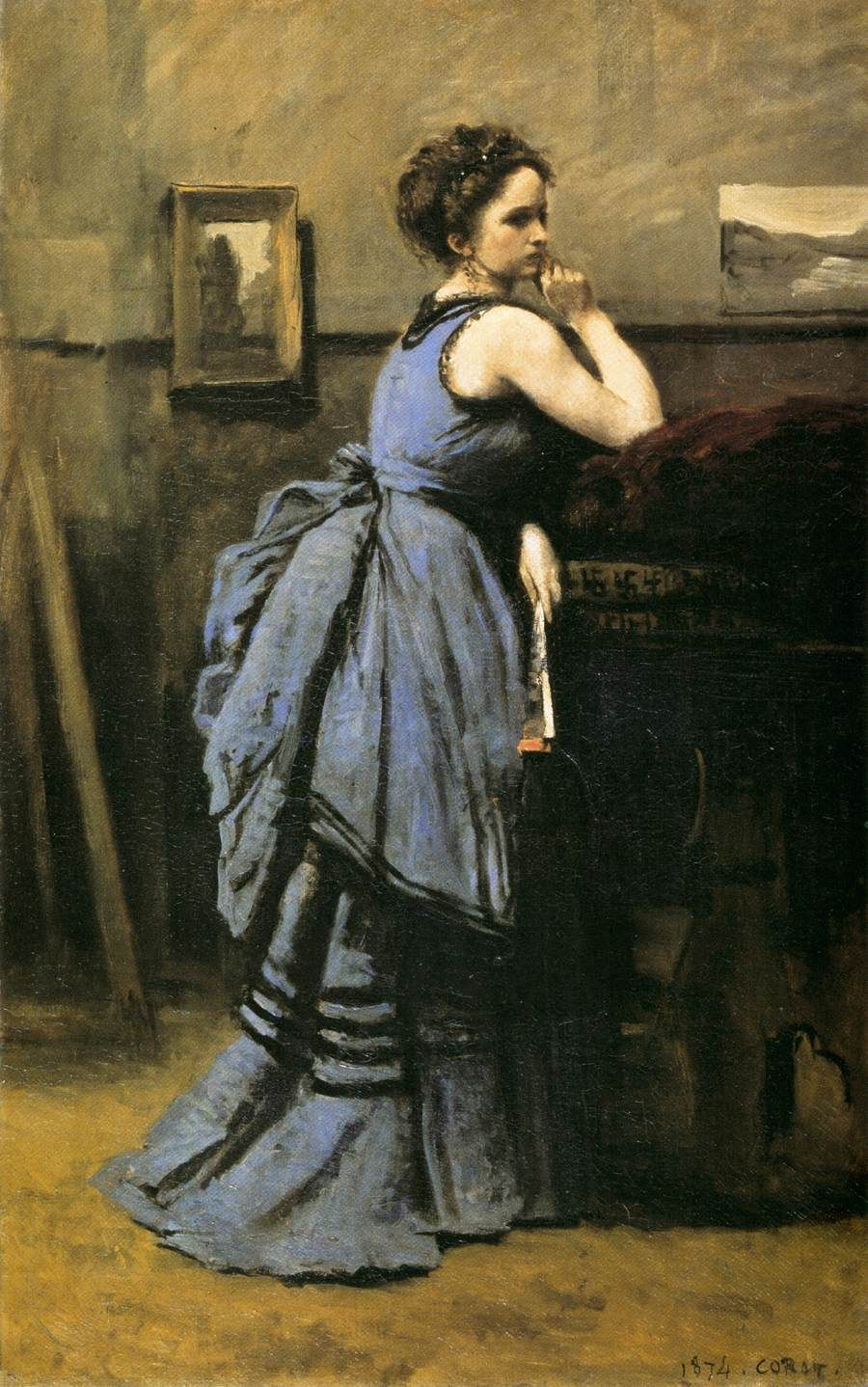 Lady In Blue 1874 Jean Baptiste Camille Corot French 1796