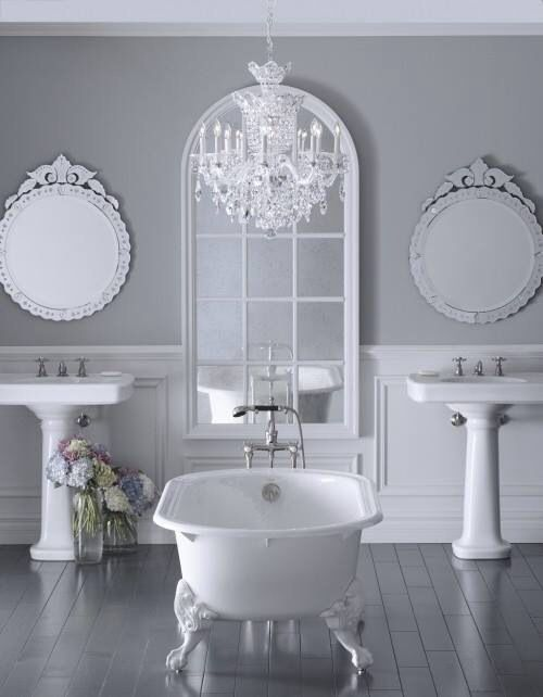 Soft Grey Wall Color For Classic Bathroom Ideas With White Clawfoot Tub Design And Decorative Mirrors Feminine To