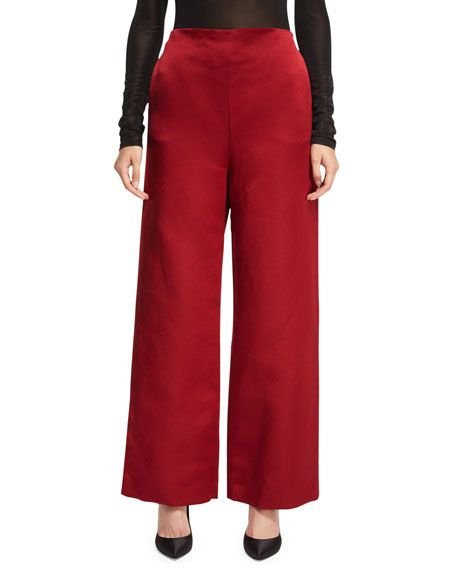 THE ROW STROM SILK SATIN WIDE-LEG PANTS, SCARLET. #therow #cloth #