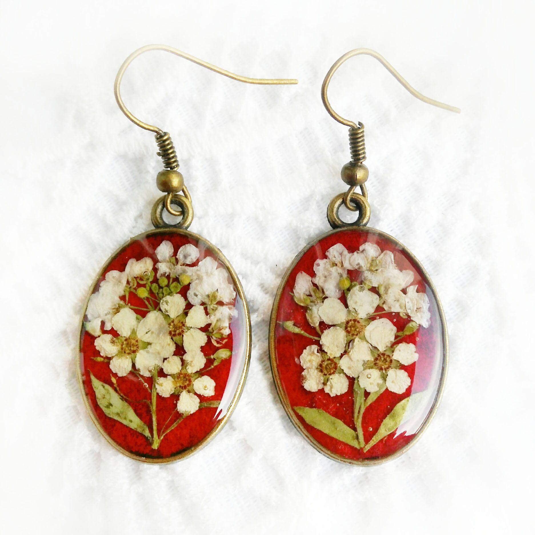 42edba0bcc86b6 Red Earrings Dread Flowers Jewelry Real Flowers Terrarium Epoxy Resin  Earrings Flower Girl Botanical Beauty Gift Wedding Beauty Gift Jewelry