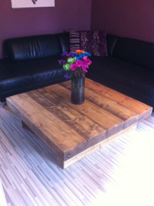 Chunky large solid wood handmade coffee table caveman