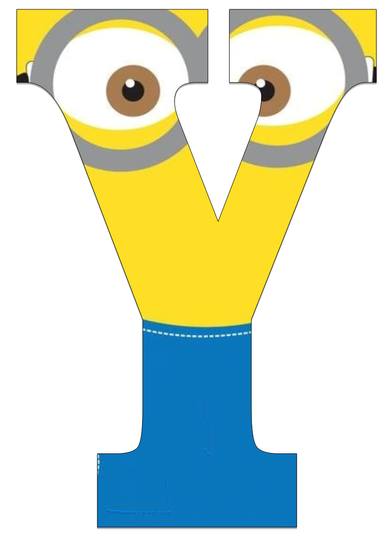 photograph regarding Printable Minions Birthday Card titled Typography - Minion Alphabet - Letter Y The Letter Y