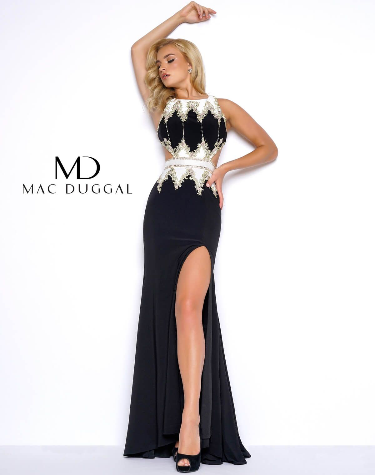 Sexy mac duggal lace embroidered long mac duggal prom gown with slit