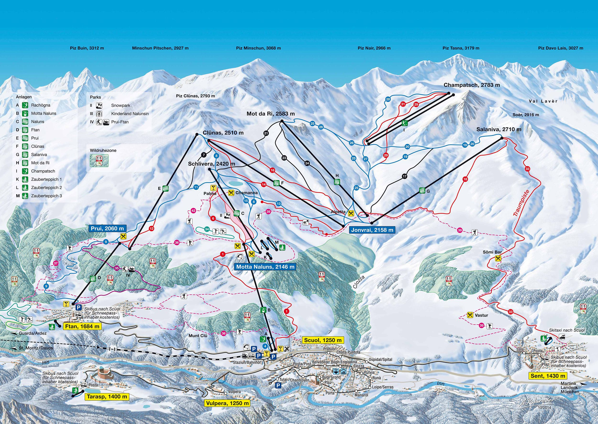 Scuol Ski Map Engadin Published In 2015 At Engadin Scuol