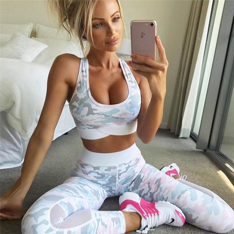 20e02a5be7e7 Sexy Mesh Camouflage Training Yoga Fitness Gym Set. Print Crop Top with  Patchwork High Waist ...