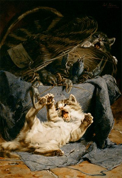 Deux jeunes Chats jouant avec un panier de Crawfish Julius Adam II Collection privée