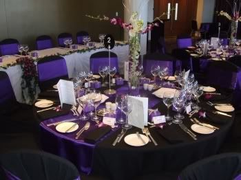 Impressive Purple And White Wedding Table Decorations 1000 Ideas .  PurpleBlackTAbleSettings (350×262) | One Day U003c3 | Pinterest .
