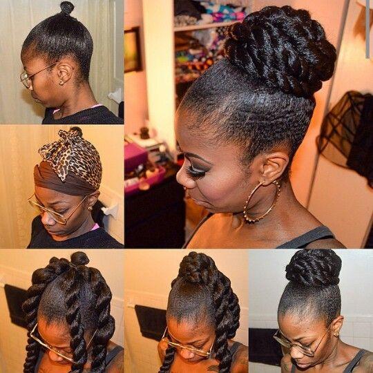 Faux Bun Natural Hair Updo Kanekalon Hairstyles Natural Hair