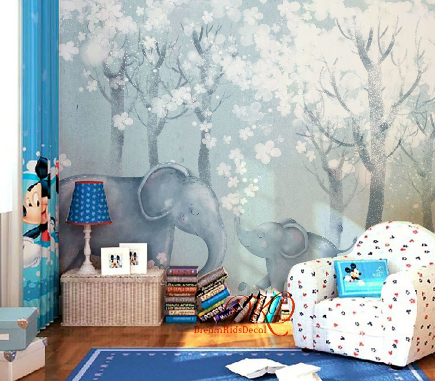 Peel And Stick Wallpaper Little Baby Elephant And Mom Elephant In Blue Wall Mural Jungle Forest Wallpaper Watercolo