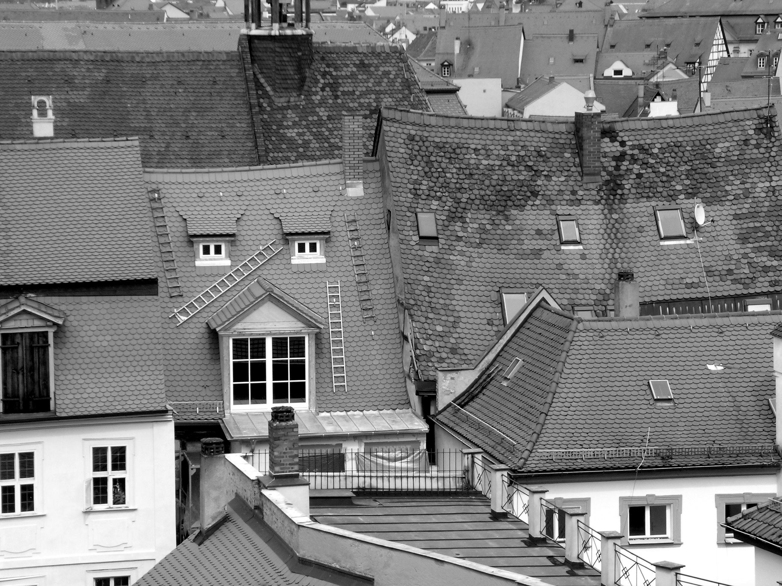Tetti a Bamberga in B e N. OP