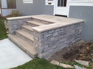 Front Concrete Landscape Steps Along With Stone Entryway Steps With Modified Buttresses By Englis Front Porch Stone Steps Stone Entryway Concrete Front Steps