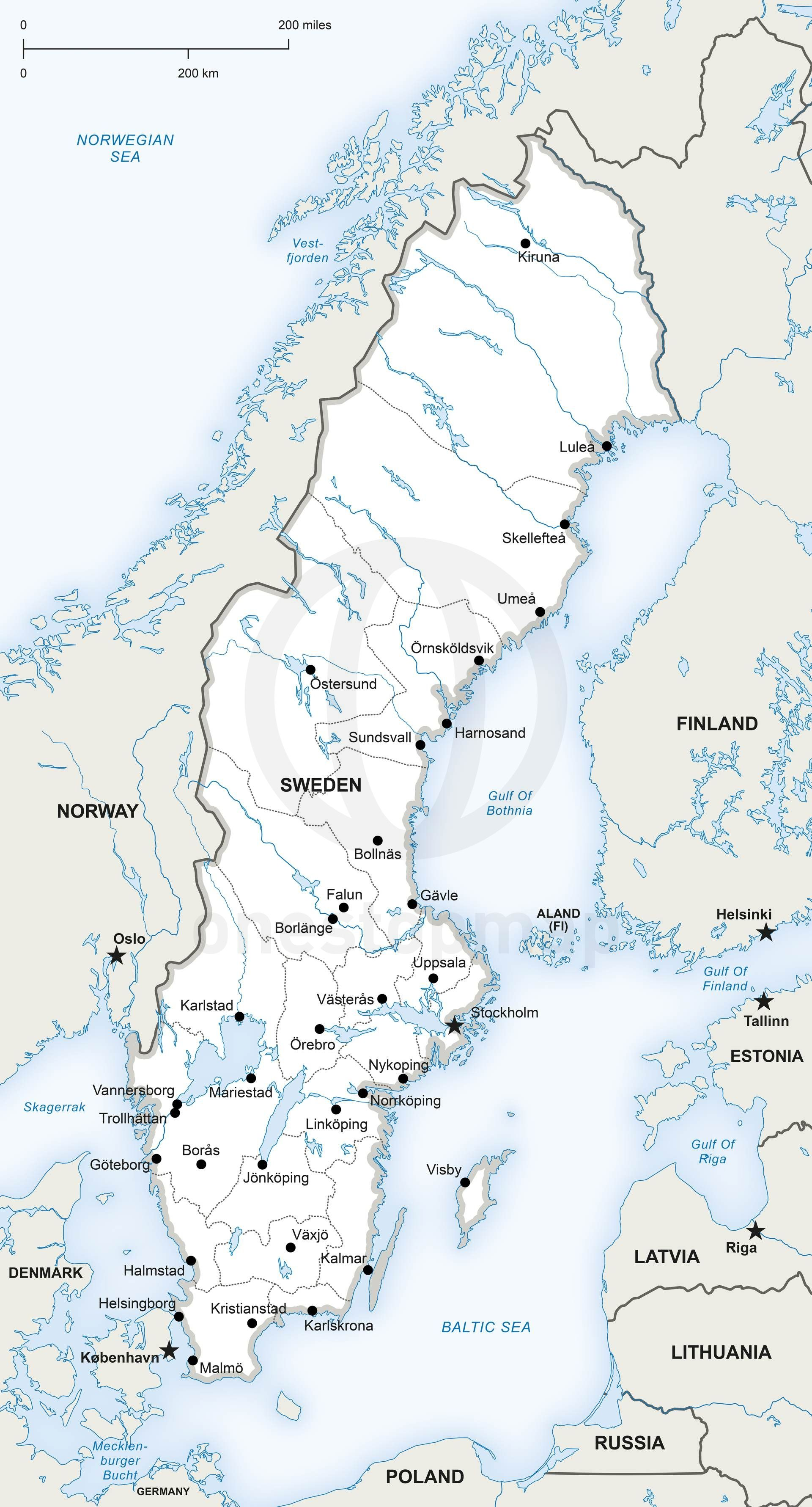 Vector Map Of Sweden Political Maps Of Europe Continent Regions