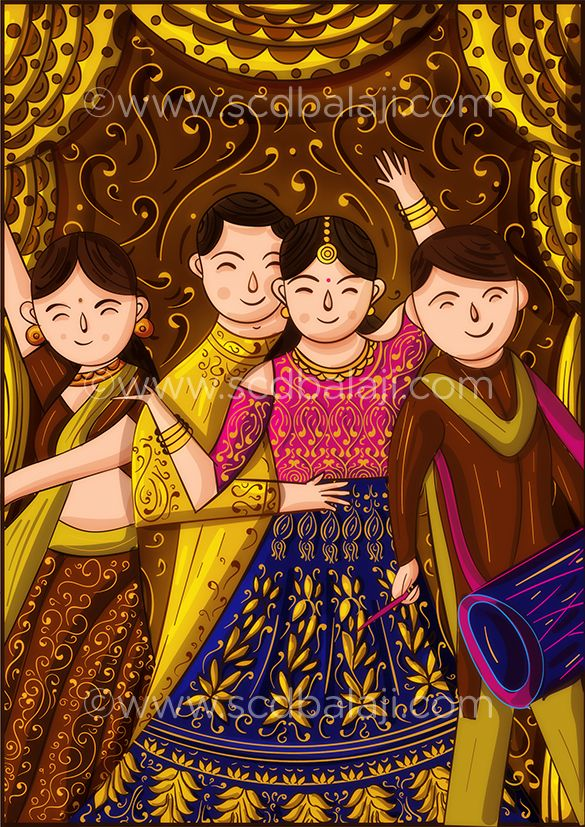 Animation style sangeet wedding invitation card indian bride and animation style sangeet wedding invitation card indian bride and groom dancing on the floor explore more creative indian wedding invitation suites at stopboris Choice Image