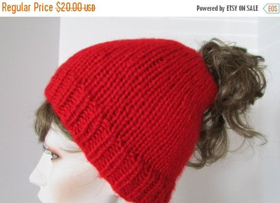 On Sale Red Hat Runners Hat Winter Hat Exercise Hat Ponytail Hat
