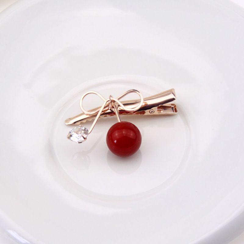 Korean Cherry Hairpin Clip Bangs Cherry Red Diamond Bow Hair Accessories