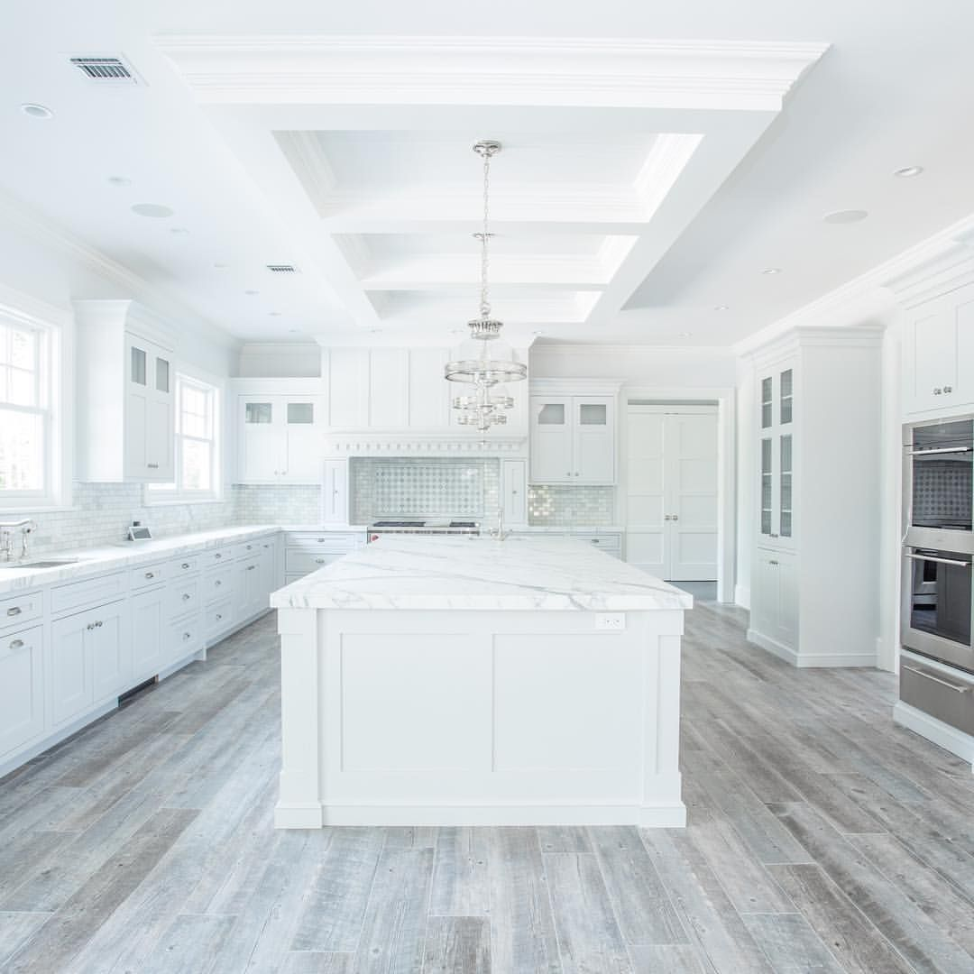 White Kitchen Floors Touchless Faucets Flooring Grey Porcelain Tile With Wooden Look Light