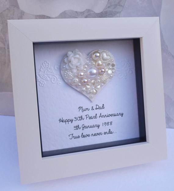 30th Wedding Anniversary Gift 30th Anniversary Gift Pearl Anniversary Frame Pea 30th Wedding Anniversary Gift Anniversary Frame Pearl Wedding Anniversary Gifts