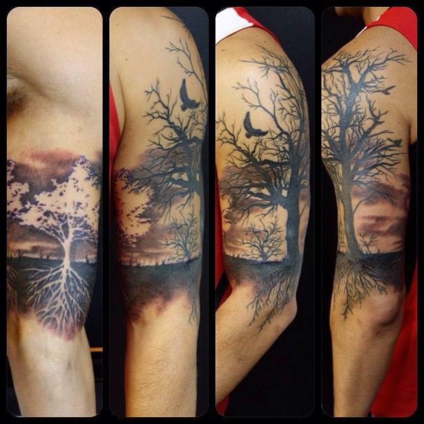 Summer Winter Tree 1 2 Sleeve Tattoo Tree Sleeve Tattoo Tattoos Life Tattoos