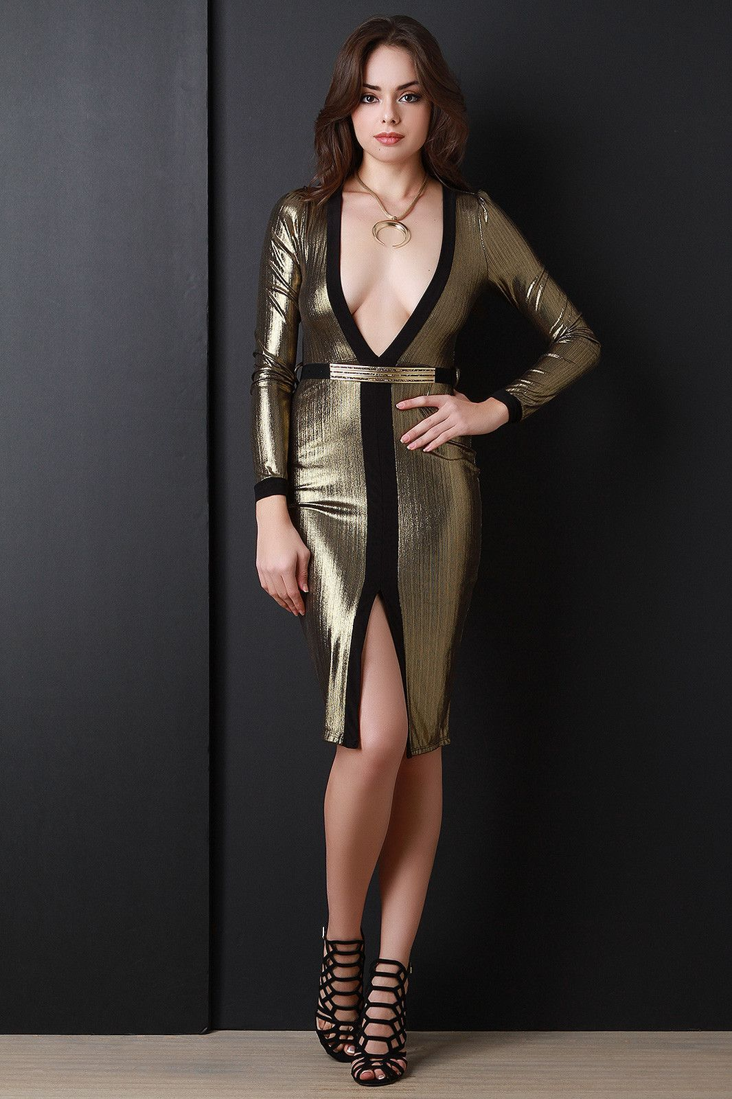 Lace dress styles for funeral  Deep V Diva Long Sleeve Metallic Dress  Products