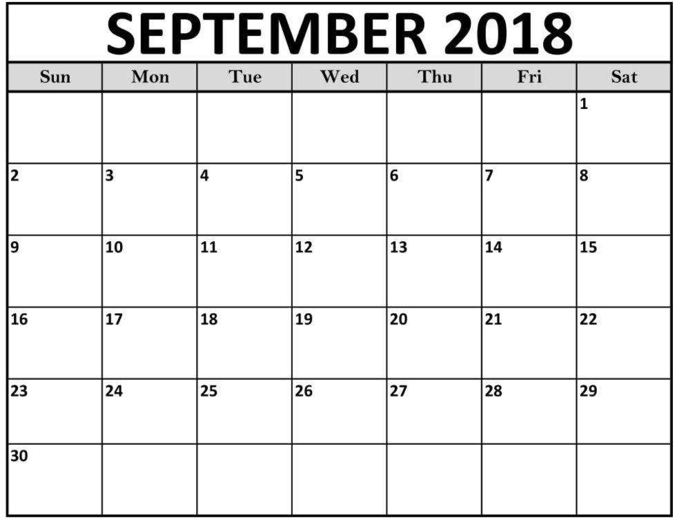 september blank calendar 2018