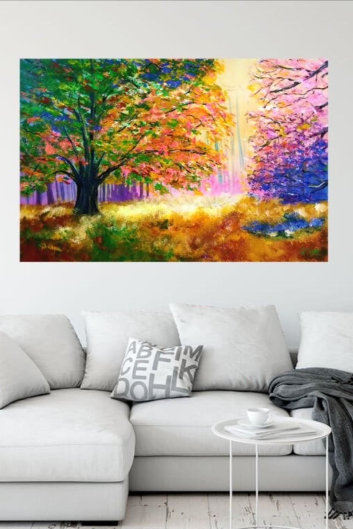 Large Canvas Wall Art Original Colorful Trees Acrylic Painting On Canvas Nature Scenery 24x36 I Large Canvas Wall Art Canvas Wall Art Acrylic Painting Canvas