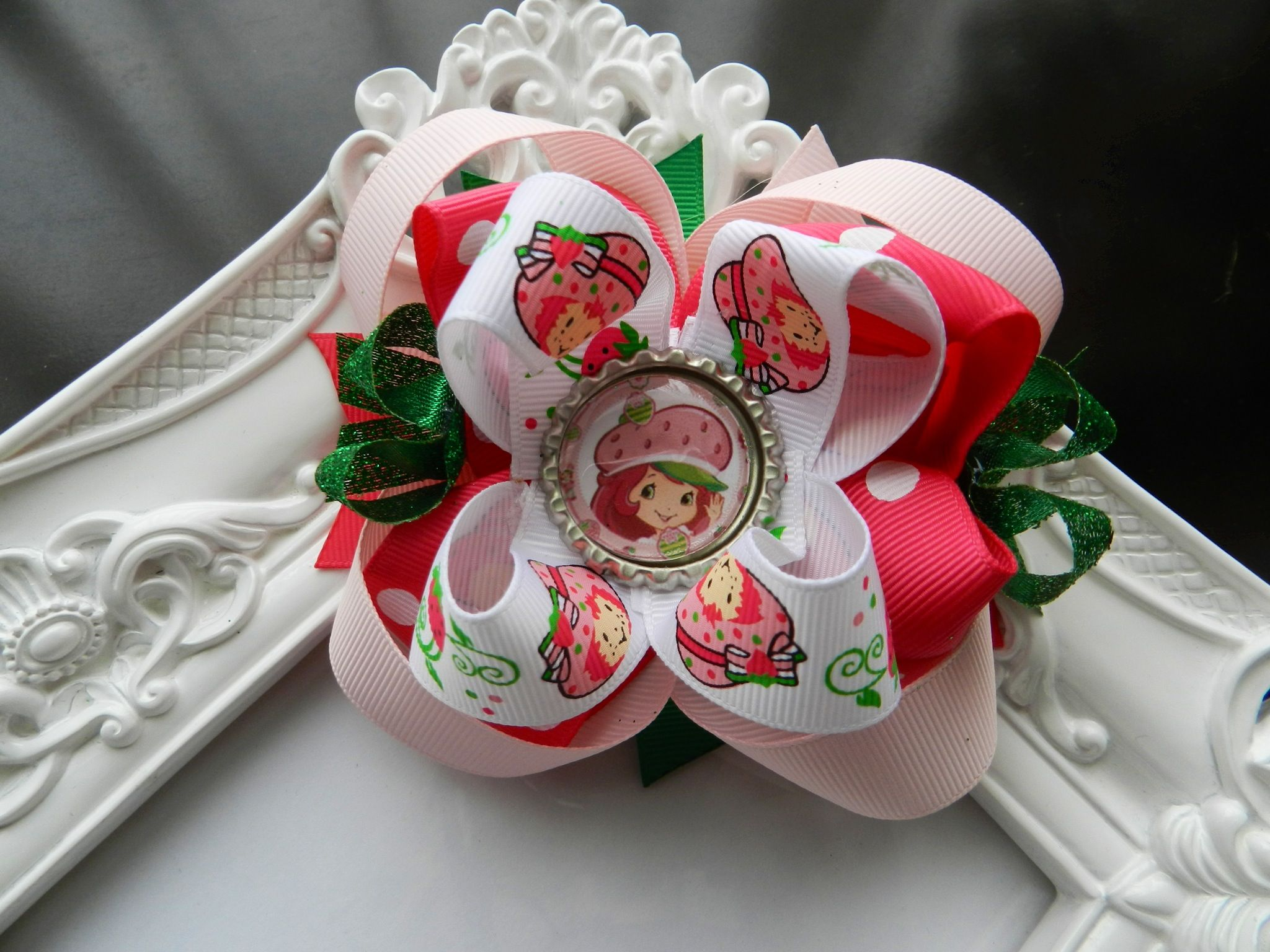 """Strawberry Shortcake Bow...Strawberry Shortcake Party. VISIT MY ETSY STORE AND RECEIVE 15% OFF YOUR PURCHASE. ENTER PROMO CODE """"PINTEREST"""""""