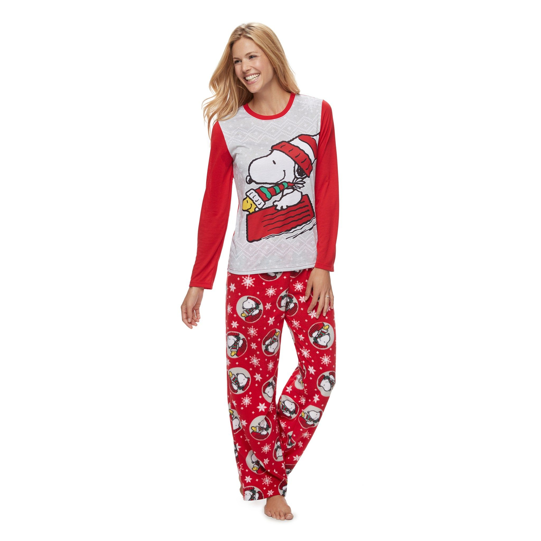 3c9c79c4b Women's Jammies For Your Families Peanuts Snoopy & Woodstock Sledding Top &  Microfleece Bottoms Pajama Set