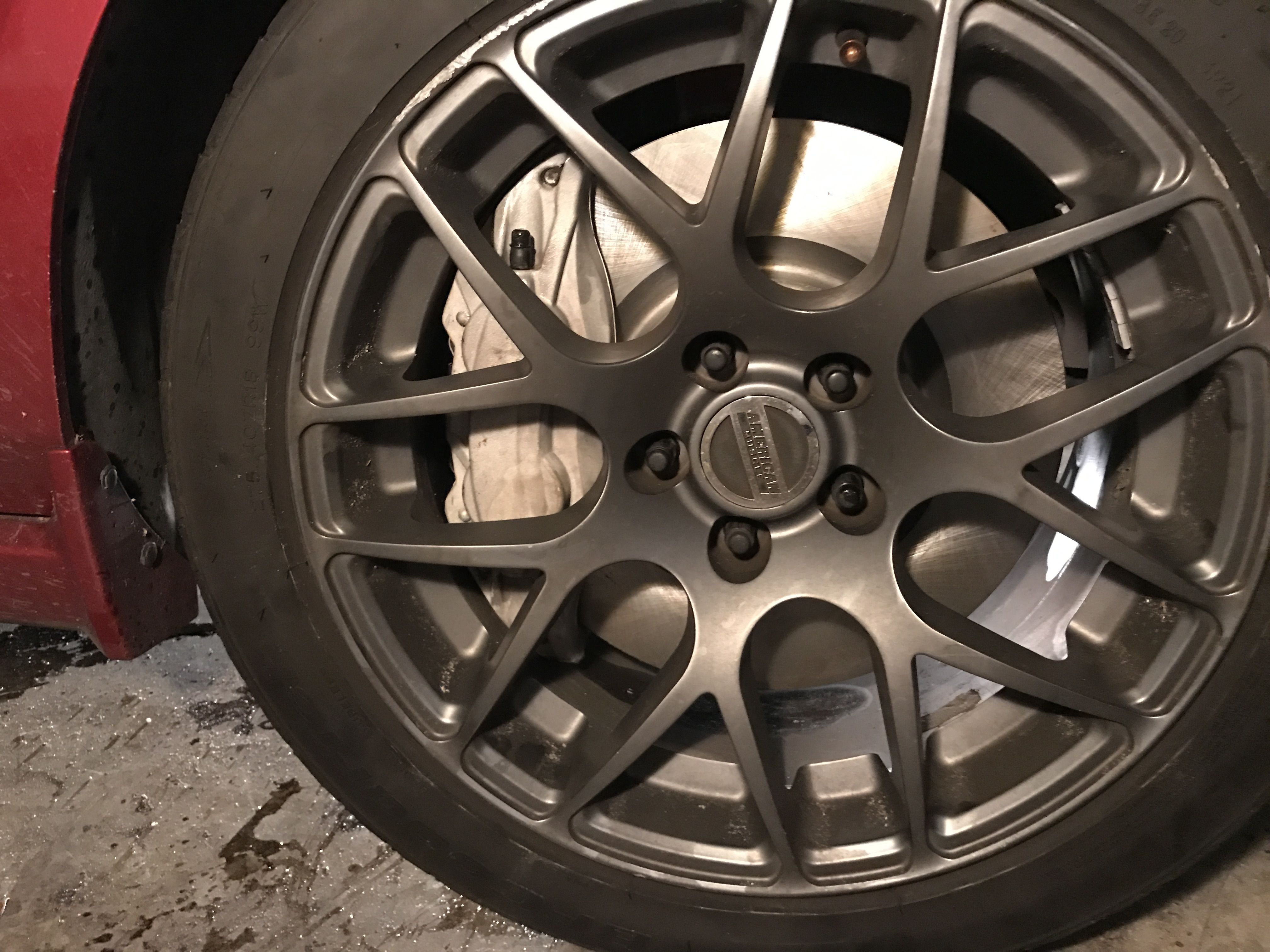 """I put the 2016 4 piston calipers on my 2006 GT. They bolt up no problem using 2009 GT500 rotors. Braking feel is way better and hopefully they won't overheat like my stock ones did. only issue was with 18"""" wheels it's tight but a little filing and they fit fine. #Mustang #usedcar #car #cars"""