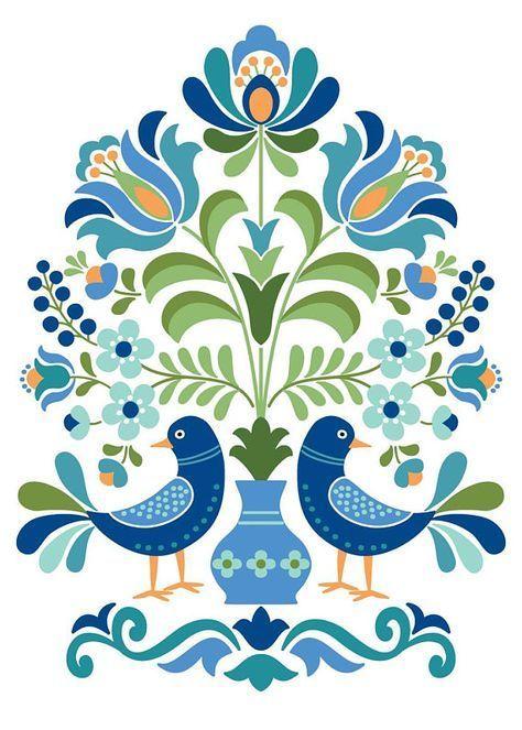 Hungarian Folk Art Print Blue Birds