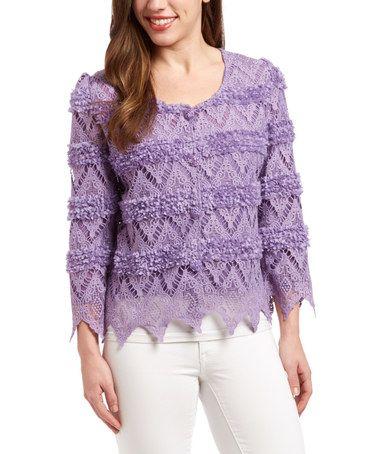 Another great find on #zulily! Purple Rosette Crochet Linen-Blend Crop Cardigan #zulilyfinds