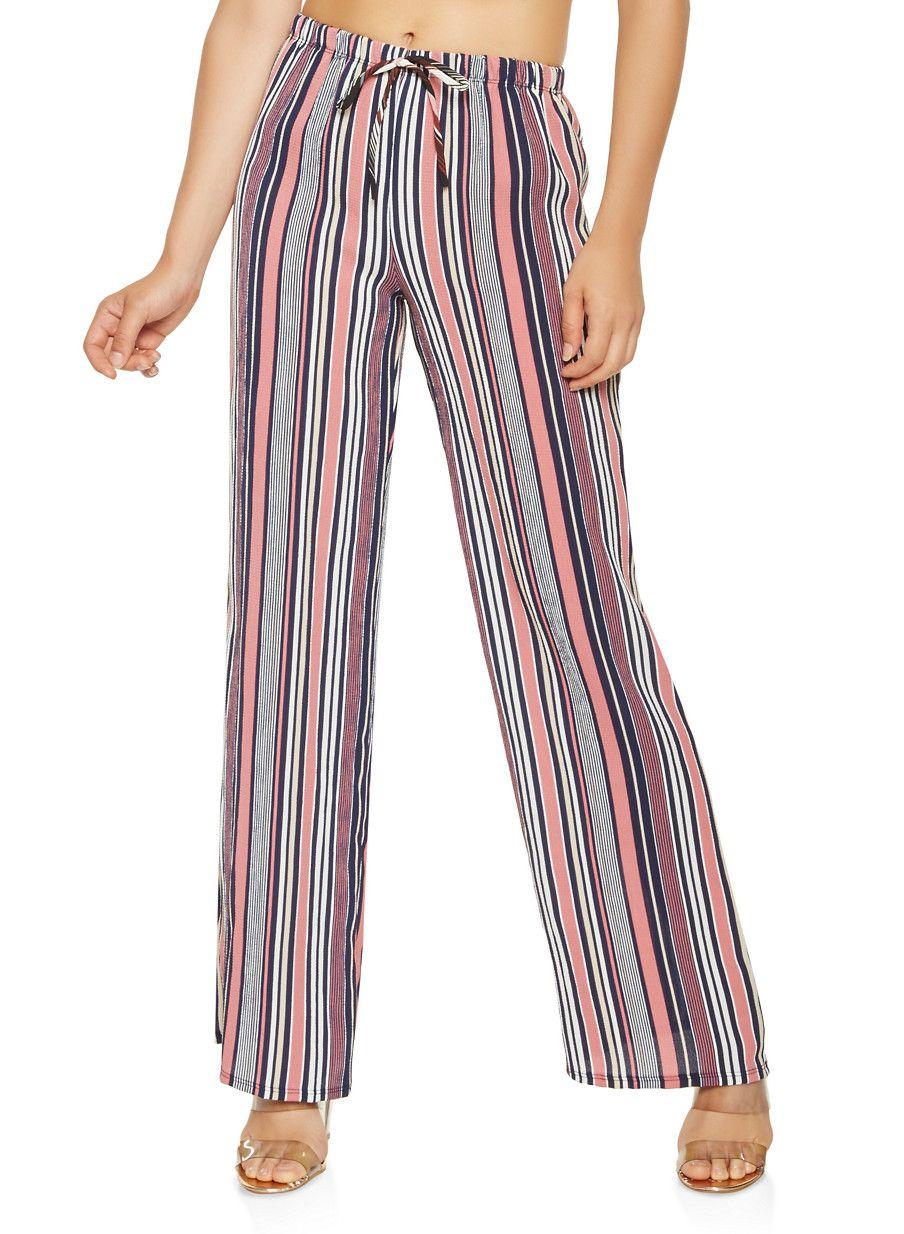385d757402ad Striped Palazzo Pants - Pink - Size XL | Products | Pants, Palazzo ...