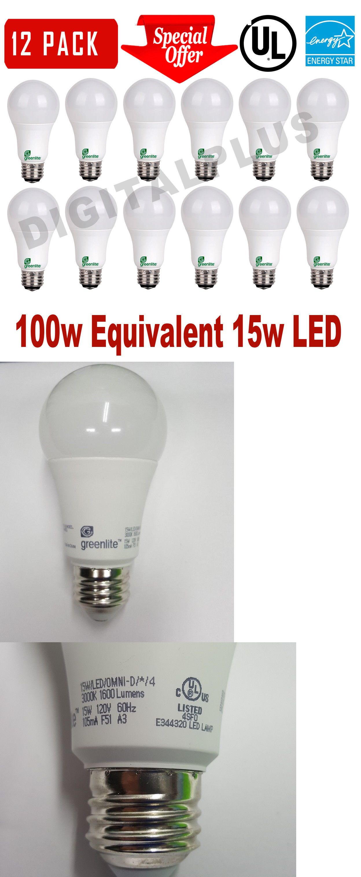 Light Bulbs 20706 12 Led Light Bulbs Greenlite 15w 100w Rep 1600l Warm White 3000k A19 Dimmable Buy It Now Only 29 9 On Led Light Bulbs Light Bulbs Bulb