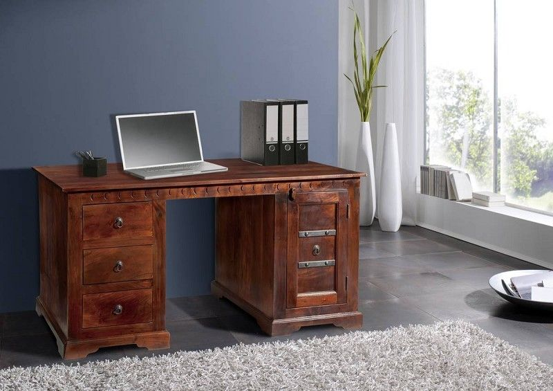 Schreibtisch Akazie 150x85x76 nougat lackiert OXFORD #420 ...