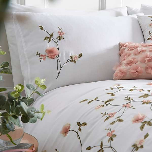 Rose Garden 3D Embroidered Flower Duvet Cover & Pillowcase Set by Kaleidoscope | Kaleidoscope