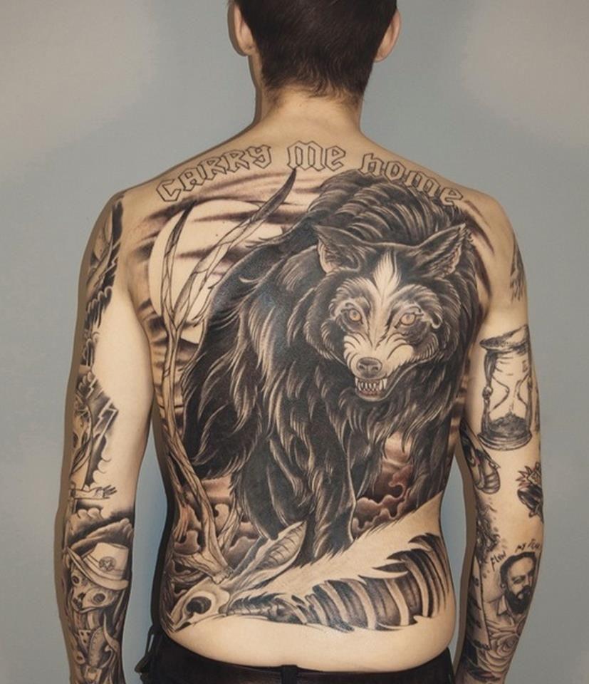 Alex Mcwatt Inked This Wolf Back Piece Three Kings Tattoo Tattoos Epic Tattoo