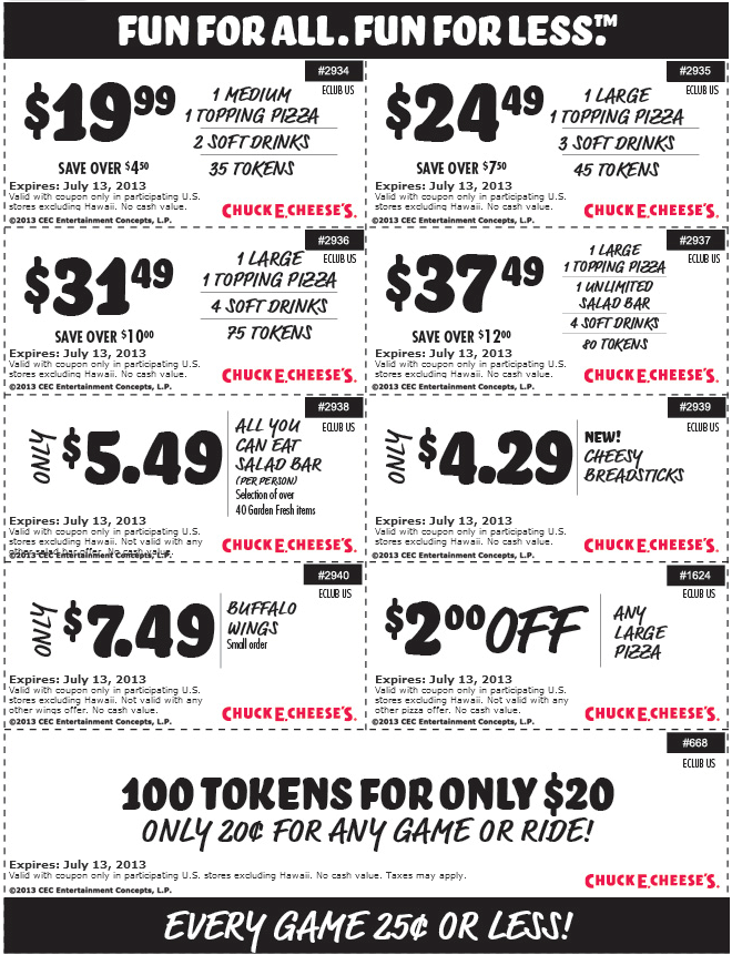 Pinned June 15th: 100 game tokens for $20 and more at Chuck E ...