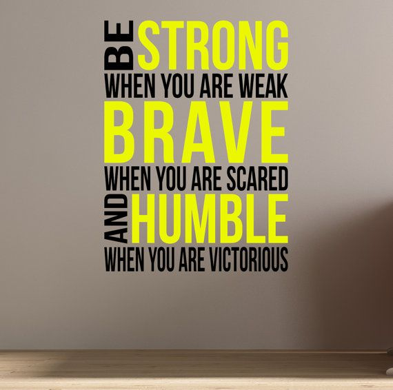 Be Brave Be Strong Wall Fitness Decal Quote For Gym Kettlebell
