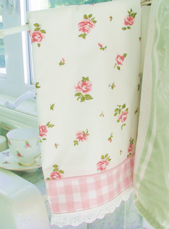 NEW favorite love vintage roses kitsch kitchen tea TOWEL shabby pink ...