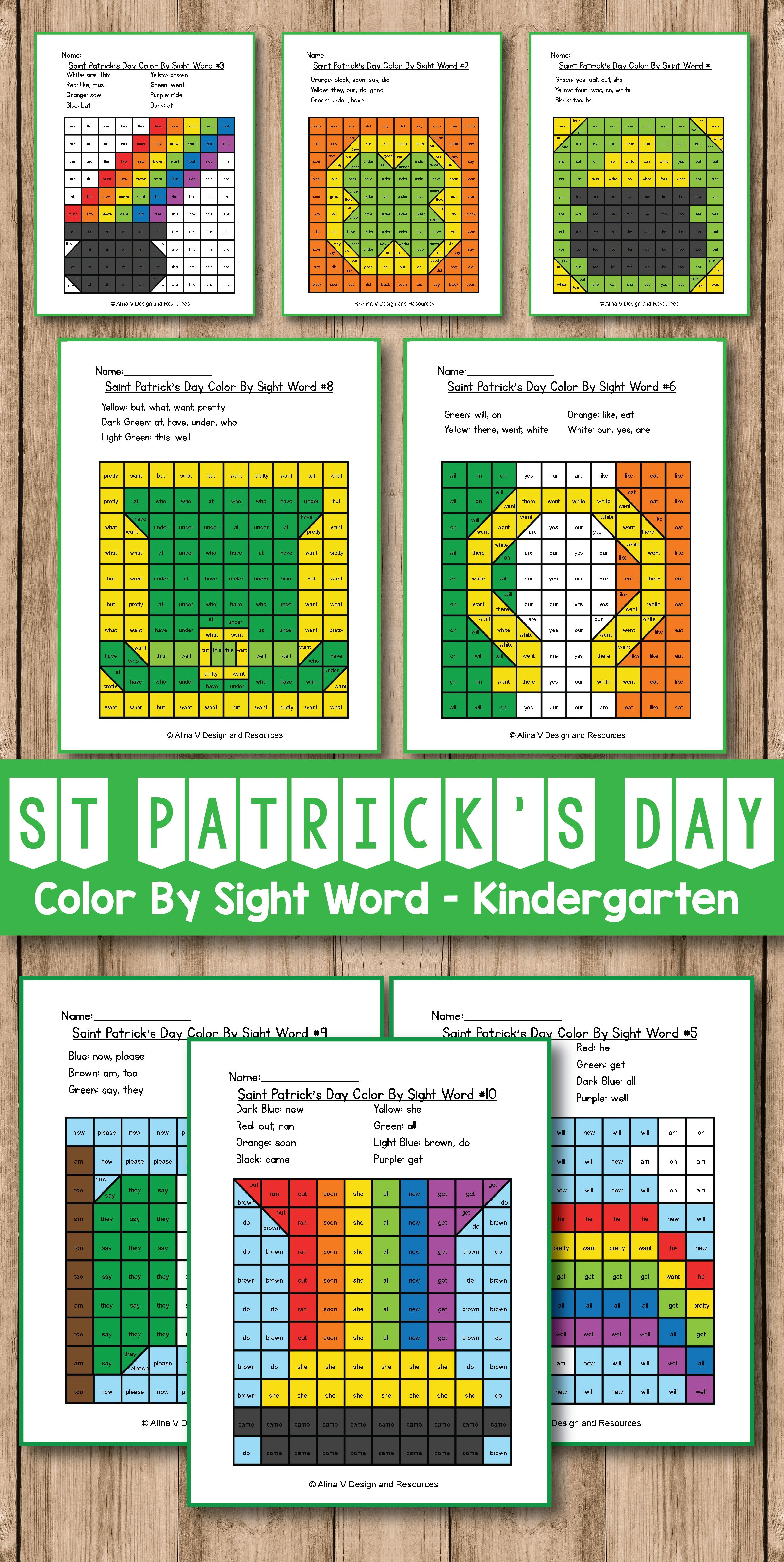 St Patricks Day Color By Sight Word St Patrick S Day