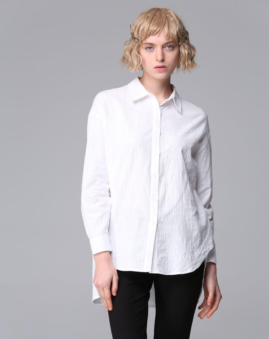 #AdoreWe #VIPme Blouses & Shirts - Irina Miro White Plain Lapel Long Sleeve Casual Shirt - AdoreWe.com
