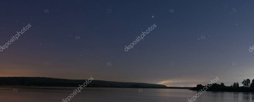 Russia Night Landscape On The Angara River And Night Sky With Stars Stock Photo Sponsored Landscape Anga With Images Night Landscape Star Sky Night Skies